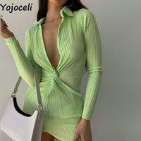 Günlük Elbiseler Yojoceli Seksi Düğüm Kısa Kulübü Kadın Elbise Zarif Sonbahar Bodycon Yeşil Serin Siyah Mini Vestidos