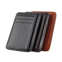 Wallets Mini Coin Purse Casual Ladies PU Solid Color Card Case Short Money Holder Retro Men Litchee Pattern