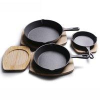 Gusseisenküche Kochplattenofen Verwenden Sie den vorverzierten Grill nichtstock Pfanne mit Silikon-Heißgriffhalter