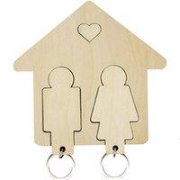 Casa creativa Clave de madera Colgante DIY Pareja Teclas Tenedor para la pared Colgando Coche Llavero Pequeño Regalo LLD8527