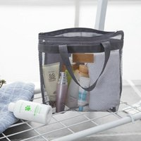 Taşınabilir Örgü Şeffaf Tuvalet Çanta Büyük Kapasiteli Kozmetik Çanta Açık Seyahat Plaj Çantası Makyaj Tote Çanta T500509