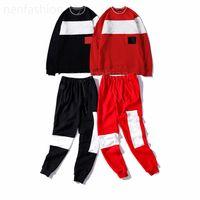 Tracksuits dos homens Mulheres de mangas compridas de mangas mulheres, design de bordado de carta de moda camisolas de alta qualidade, estilo vermelho preto top + calças casuais conjunto de 2 peças