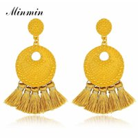 Dangle & Chandelier Minmin Bohemia Large Tassel Earrings For Women Long Drop Round Metal 3 Colors Vintage Engagement Jewelry 2021 MEH1161