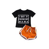 Clothing Sets Baby Boy Short Sleeve + Shorts I GET IT FROM MY MAMA Letter Print Elastic Waist Summer