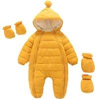 Down Coat 2021 Born Baby Jumpsuit Hooded Plus Velvet Warm Boys Snowsuit Toddler Snow Suit Girl Cotton Overalls Rompers