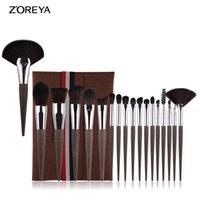 Eyelash Curler Selling ZOREYA Style Makeup Brush 18 Coffee Grounds Wood Grain Beginners Set Cosmetic Gift For Women
