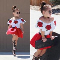 Summer Style Toddler Baby Girls Sleeveless Off Shoulder Embroidered Rose Tops Skirts Outfits Vogue Clothes Ropa Bebe