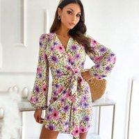 Casual Dresses Autumn Elegant Floral Print Mini Women 2021 Sexy Deep V-neck Long Sleeve Lace-up Short Dress Woman Fashion Party