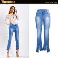 Women's Jeans 2021 Spring And Summer European American Hole Trousers Women Rivets Edge Split Feet Pants Micro-flare Wo
