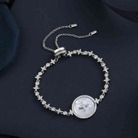100% 925 Sterling Silber Klassische Sterne Mutter Shell Armband Weibliche Mode Koreanische Popstil Hand Schmuck