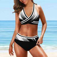 Women's Swimwear Women Sexy Halter Bikini Set High Waist Plus Size Swimsuit Brazilan Bathing Suit Summer Casual Biquini #T2Q