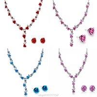 Rose Blume Halskette Ehe Rhinestone Mode Ohrring Sets Hochzeit Brautschmuck Set Afrikanische Perlen M11 21 Tropfen Ohrringe