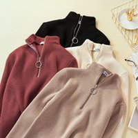Women's Sweaters Zipper Turtleneck Sweater Womens Solid Casual Winter Ladies Tops For Women Pullover Autumn Jumper Knitted Q1722