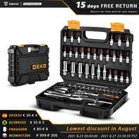 Outils à la main professionnelle Set d'outils de réparation de voiture DEKO 53PCS, ensemble de douille multifonctions, clé dynamométrique, boîte de travail de bois, kit automatique portable, t