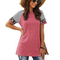 T-shirt feminino Leopardo Listrado Impressão Casual Tops Tee Mulheres Verão Manga Curta Feminina O Pescoço Diário Retalhos Roupas Camiseta D30