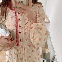 Women's Sleepwear QWEEK Cotton Women Fairy Dress Nightie Korean Floral Print Nightgrown Summer Nightwear Long One-piece Dressing Gown