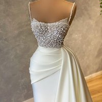 Luxury Pearls Spaghetti Evening Dress Beading Sequins Ruched Prom Gowns Satin Sweep Train Mermaid Party Dresses