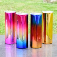 20oz Skinny Straight Electroplate Tumblers 4 Color Stainless Steel Water Bottles Glossy Double Insulated Cups Glasses Mugs By FedEx A12