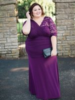 Plus Size Mother of the Bride Dresses for Wedding Party Plum Purple Lace Half Sleeve Column Floor Length Evening Prom Gowns Formal Occasion