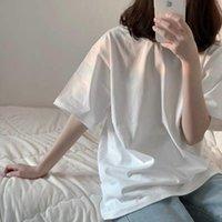 Women's T-Shirt Plus Size T Shirt Tops Casual Clothes Plain Pulovers Summer Korean Loose Midi Cotton Fashion Short Sleeve Black