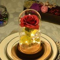 Step Verre Couvercle Rose Lover Boxing Thing Small-Light Simulation Eternelle Vie Fleur Cadeau Décoratif Fleurs Couronnes