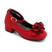 Scarpe piatte rosa rosso nero grandi bambini in pelle tacco alto per bambini ragazze fiore matrimonio e partito principessa abito 2021
