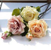Flores decorativas Grinaldas Ins Alta Qualidade Realista Diária Decoração El Artificial Flower Rose Bouquet Colocação de Casamento SN3773