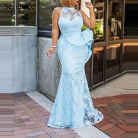 Juniros Sexy Mermaid Halter High Neck Long Evening Dresses Women Tulle Lace Sleeveless Plus Size Prom Party Pageant Gowns