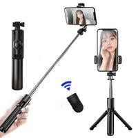 3 em 1 sem fio Bluetooth Monopod Selfie Stick para iPhone / Android Dobrável Handheld MonoPods Shutter Remoto Extensível Mini Tripé