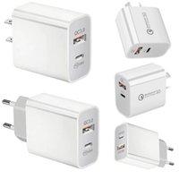 QC 3.0 Carregador de Potência Rápido 18 W PD 2-Porta USB C Adaptador U UE UN UK Plug Au Tipo-C Carregadores de Parede Rápida