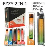 EZZY Super 2 in 1 Tek Kullanımlık Vape 2000 Puffs Elektronik Sigara Cihazı 6.5ml Bir Kalem 5 Kombinasyon ile Çift Vaping Deneyimi