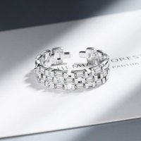 Wedding Rings Utimtree Personality Chain Design 925 Sterling Silver Full Clear CZ Zircon Stone Open For Women Party Jewelry