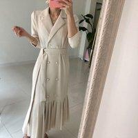 Long Trench Dress Women Suit Color Long Sleeve Minimalist Fashion Career OL Maxi Dresses High Quality Vestidos 210515
