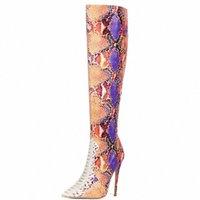 2020 تصميم الأحذية متعدد الألوان ثعبان طباعة الركبة أحذية عالية فو الجلود سوبر عالية الكعب طويل الأزياء أشار أحذية تو 87N7 #