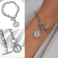 Multilayer Woman bracelet On hand Chain bracelet for girls Punk Silver Color Jewelry 2021 trend Charm Punk charm bracelet