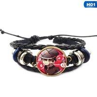 Bracelet Hanako-Kun Hanako-Kun d'anime Punk Cosplay Cosplay Bouton Snap Bouton Bracelets en cuir Noir Bracelet Bracelet Bijouterie Charme