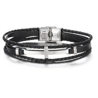 Fashion Charm Jewelry Stainless Steel Cross Multilayer Braided Leather Bracelet Retro Titanium Cuff Male Bracelets