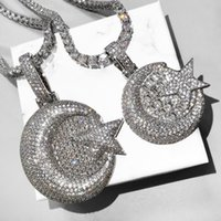 Pendant Necklaces Bling Hip Hop Moon And Star With Tennis Chain 2 SIze Full Cubic Zirconia Necklace For Men Women Gifts
