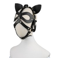 Adult Anime Cosplay Harness Bondage Head Hood Cat Ears Leather Mask for Face Women Men Couples Accessories Sex Toys Black Red