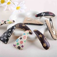 100PCS/DHL Retro Ventage PU Leather Hairpin Designers Classic Flower Hair Pin Clips Girls Barrettes Hairband Christmas Party Headdress Accessory G101LAZ