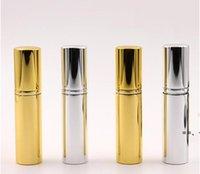 Brilliant Gold Silver 5ml Refillable Portable Mini bottle Aluminum Spray Atomizer Empty Spray Atomizer Container HHE9629