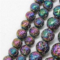 Cuentas de piedra de lava natural que platean las rocas volcánicas coloridas de las rocas de piedra de las perlas de piedra 15 '' Joyas de bricolaje que hacen accesorios Tamaño 6mm 8mm 110 q2