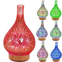Humidifiers 3D Firework Glass Vase Shape Air Humidifier With 7 Color Led Night Light Aroma Essential Oil Diffuser Mist Maker Ultrasonic