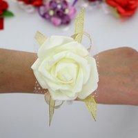 Brouette de demoiselle d'honneur fleur de poignet Corsage demoiselle d'honneur de demoiselle d'honneur fleurs de mariage boule de mariage bracelet de fleur de soie artificielle