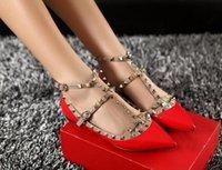 2021Women Pumps Wedding Shoes Woman Flat Nude Fashion Ankle Straps Rivets Shoes Sexy Flat Sandals Bridal Shoes