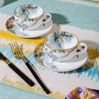 نوعية جيدة العظام الصين فنجان القهوة مجموعة الكلاسيكية الحصان نمط الشاي السيراميك مجموعات هدية housewarming هدية