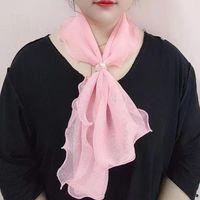 Spring Autumn Korean Version Net Gauze Hedging Scarf Female Neckline Ruffled Pearl Buckle Thin Section Wild Decorative E51 Scarves