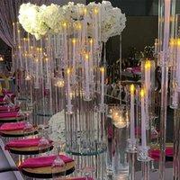 Parti Dekorasyon Toptan 10 Arms Uzun Stemmed Modern Temizle Akrilik Tüp Hurricane Kristal Mumluklar Düğün Masa Centerpieces Candel