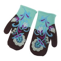 Five Fingers Gloves Women Winter Faux Cashmere Warm Full Finger Floral Embroidery Mittens