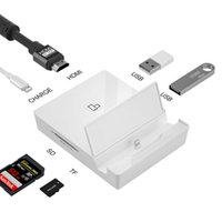 Lightning to HDMI 4K Digital AV OTG Charge Adapter Dual USB Camera Reader Hub SD TF Card Connection Kits for iPhone 12 iPad iPod